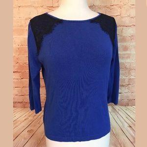 ☀️5/$25 CATO Women's Royal Blue 3/4 Sleeve Sweater